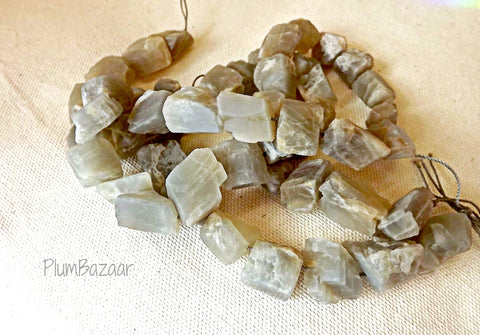 "Moonstone, 16"" strand of rough cut chunky beads"