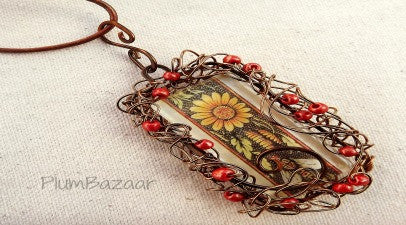 Beaded, wire wrapped glass tile pendant with leather cord