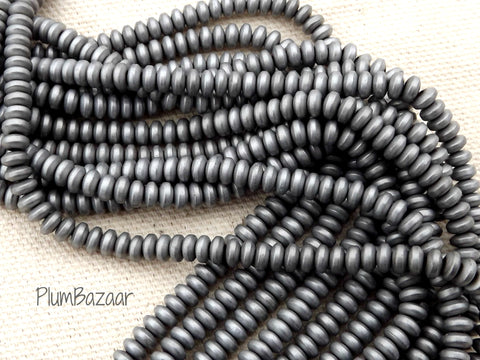 Hematite spacer beads, matte silver, non magnetic