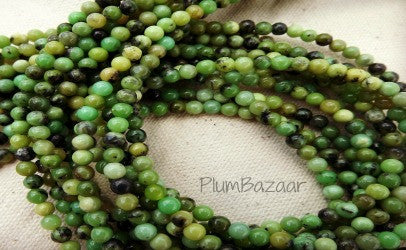 "Small round green stone beads, 4mm, 16"" strand"