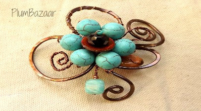 Wire wrapped brooch or hat pin with turquoise stone beads