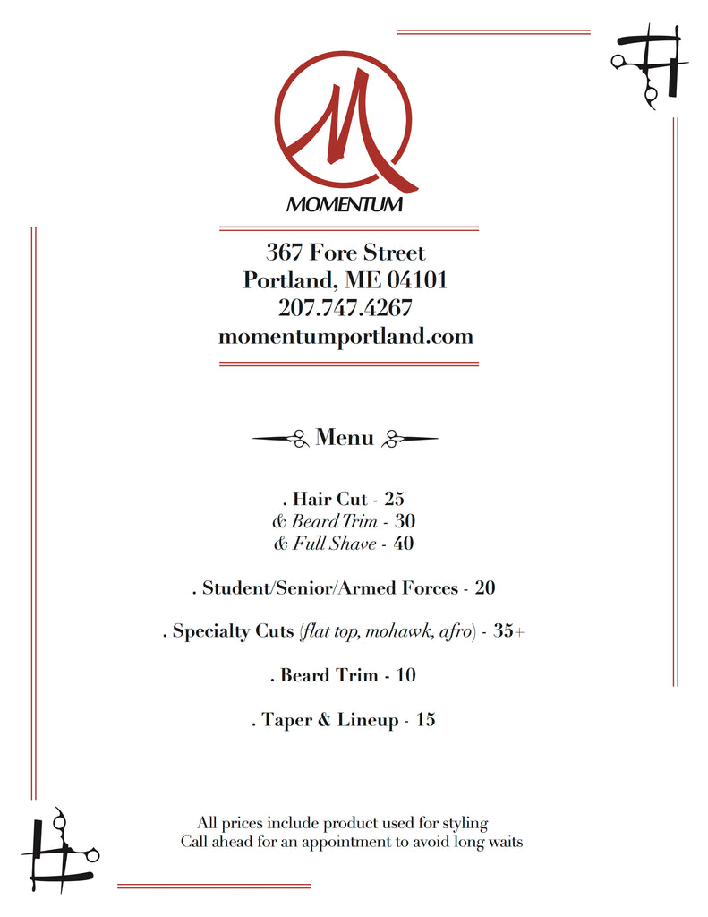 Momentum Barber Services Menu