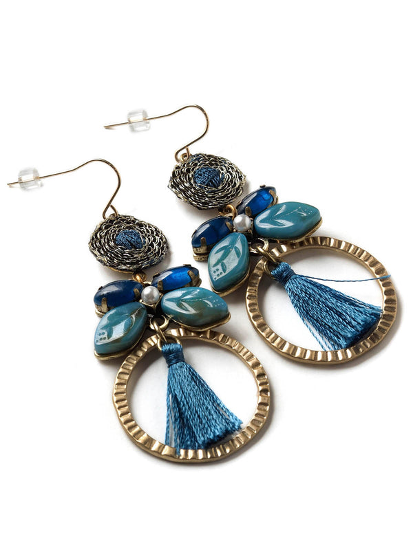 Indigo Hoop Earrings With Tassels
