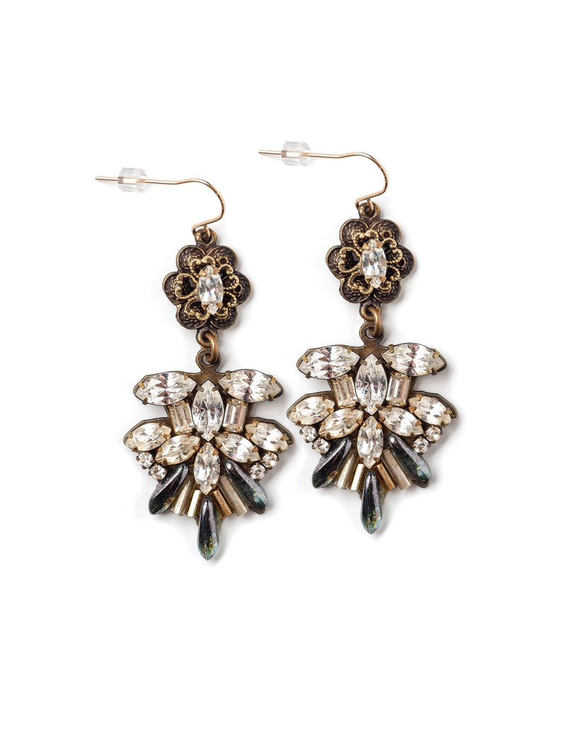 Front view of a pair of ornate statement earrings with rhinestone navettes and floral tops