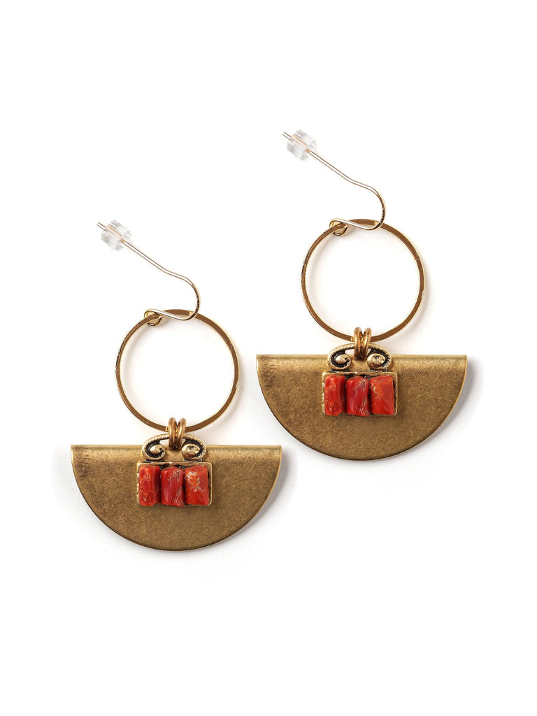 Half Moon Coral Earrings #AA11E