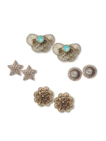 Starry Night Lacy Stud Earrings Stud Set  #AA29E