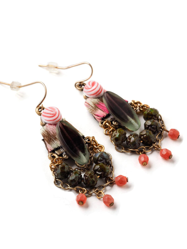 Embroidered Tear Earrings  #BB05E