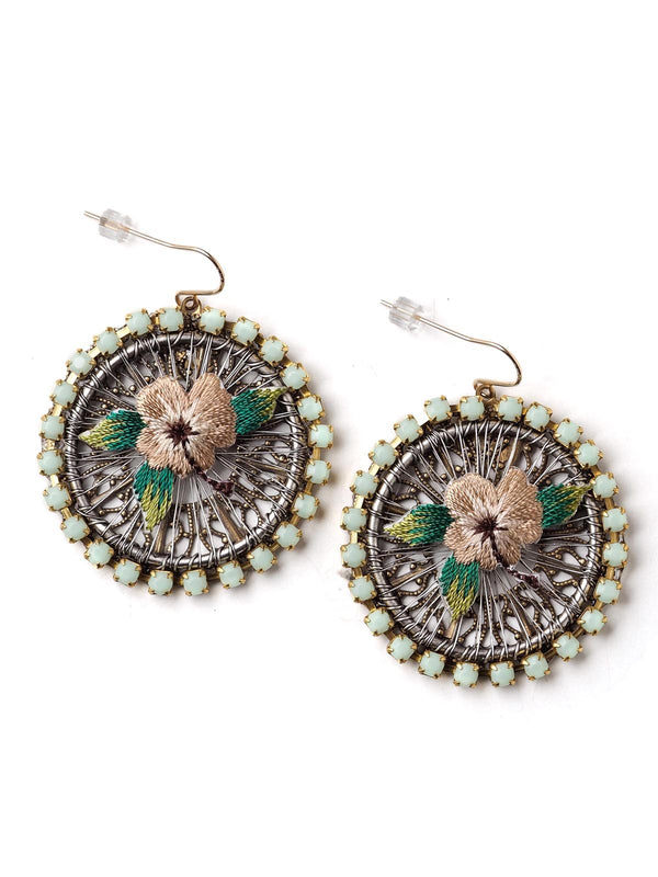 Dazed Flower Hoop Earrings With Appliqué