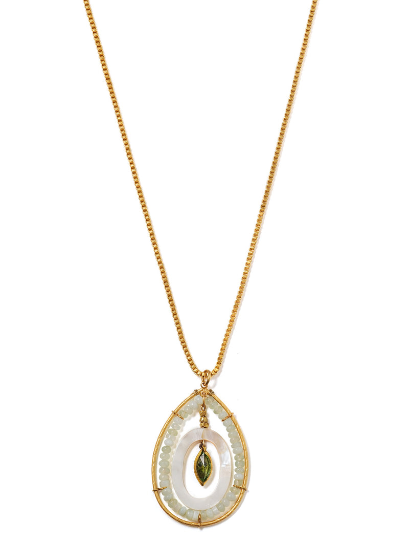 Beaded teardrop shaped pendant on box chain in bright gold