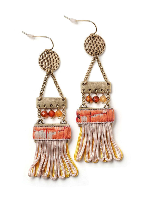 front view of ladder style earrings with ribbon detail and tassels