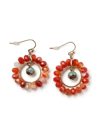 Carnelian Hoop Earrings  #BB23E