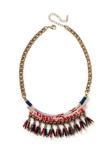 short bib necklace with wrapped chirimen ribbons, beaded dangles, and bright gold chain