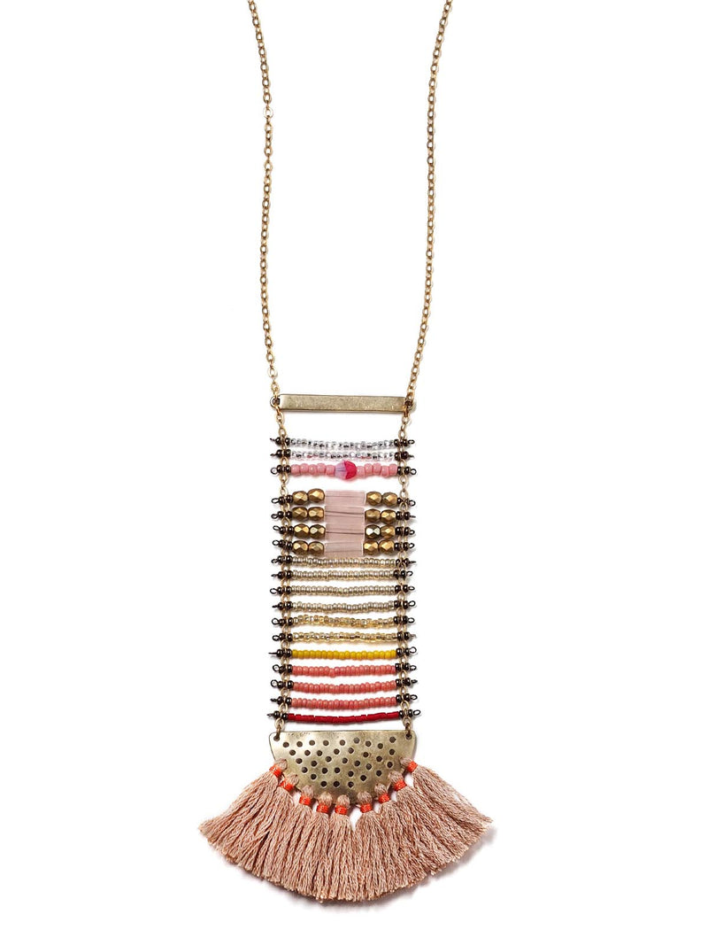 front view of a beaded ladder necklace in antique gold with tassels