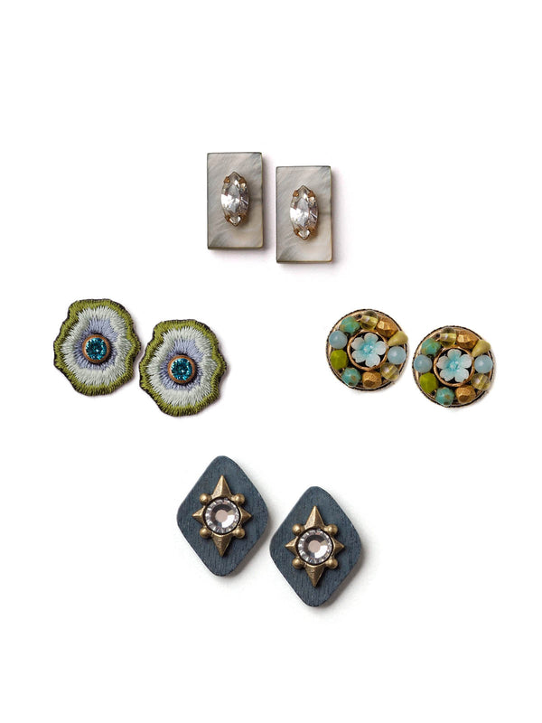 Bits Of Blue Stud Earrings Set
