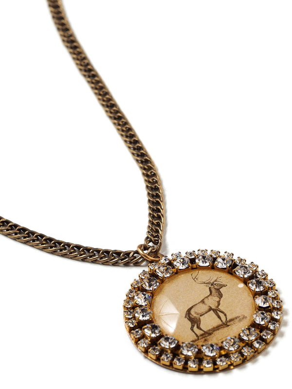 Closeup of Vintage Deer Print Pendant Necklace