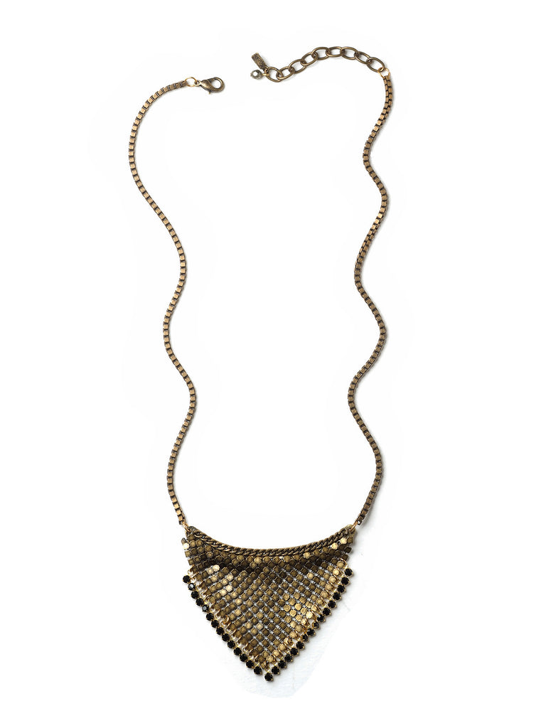 Night Drops Brass Mesh Bib Necklace #D02N