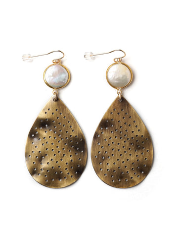 Pearl and Perforations Earrings #D21E