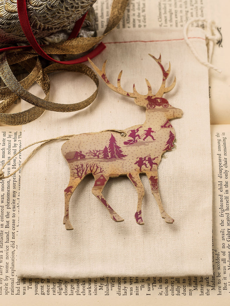 Vintage Reindeer Holiday Ornament Set #OKL03