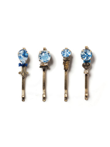 Blue And White China Hair Pin Set #HS16
