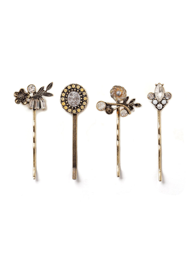Floral Sparkle Assorted Hairpin Set In Antique Gold