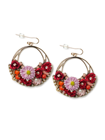 Floral Hoop Earrings #L16E
