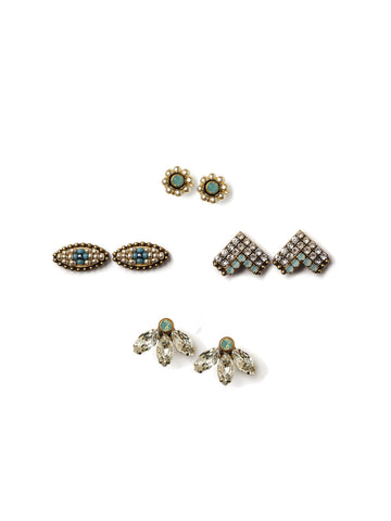 Sparkle With Blue Stud Set Earrings #L24E