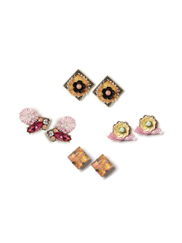 Floral Mix Stud Set Earrings #L25E