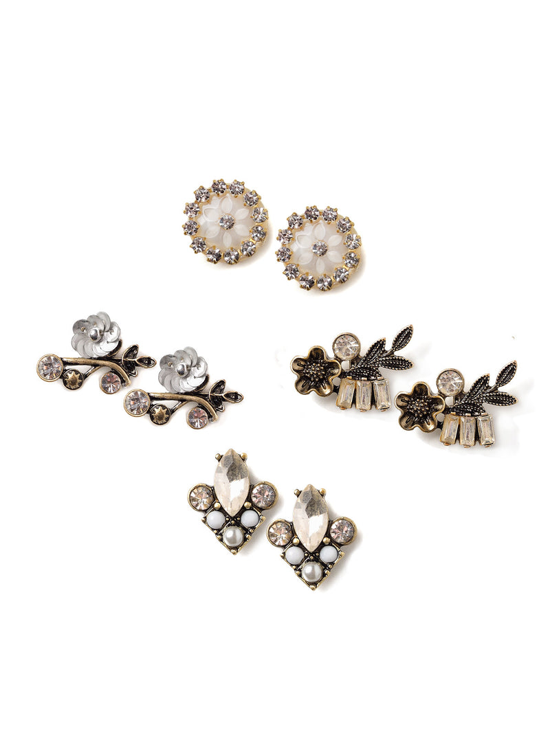 Floral Sparkles Stud Earrings Set