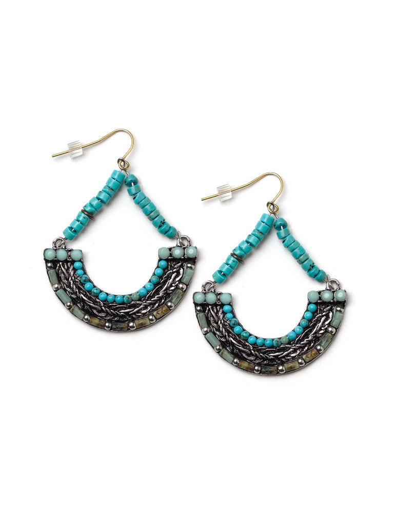 Turquoise Hoop Earrings #L29E