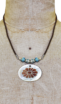 Leather and Mother of Pearl Necklace #L35N