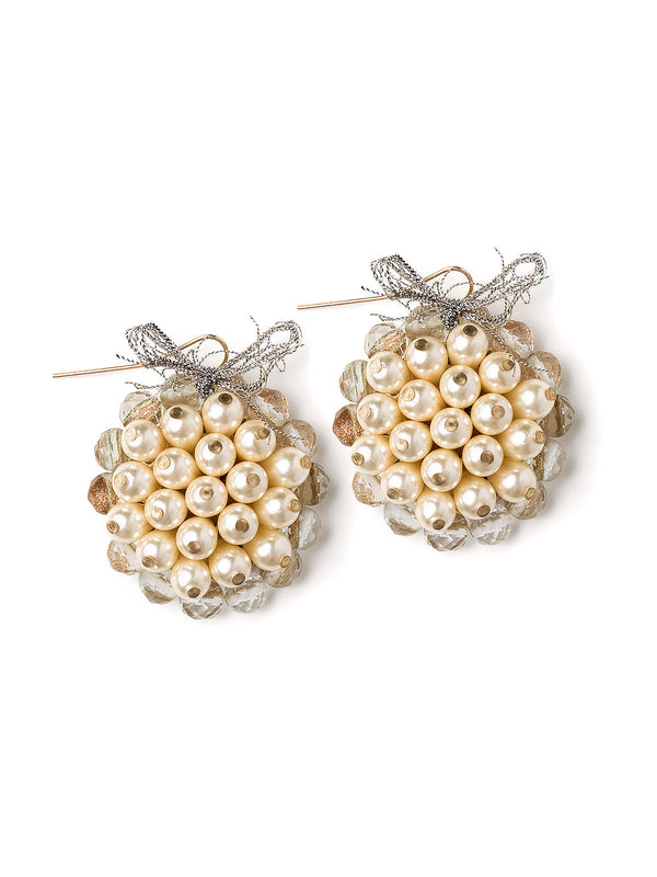 Shimmering Pearl Cluster Earrings #M01E