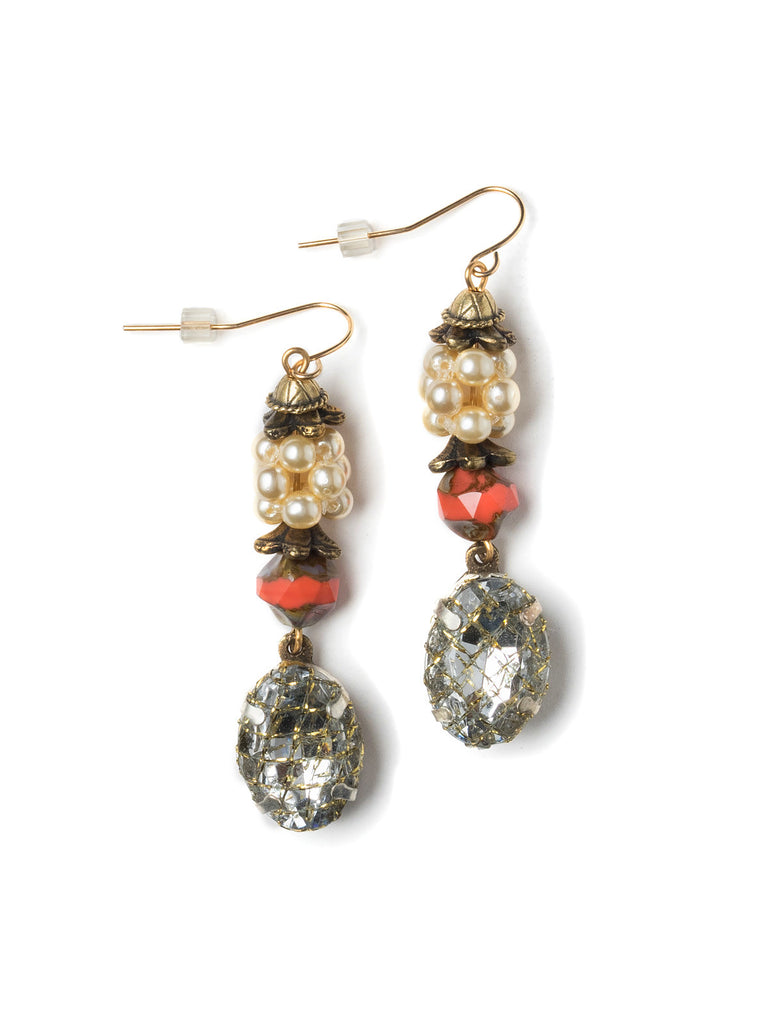 Pearl Cluster Drop Earrings #M26E
