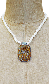 Mother of Pearl and Enameled Pendant Necklace #CSN1