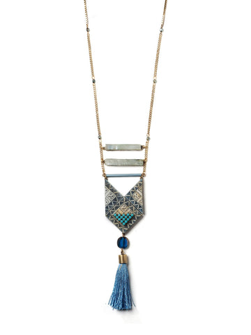 Blue Tile Necklace With Tassel #N09N