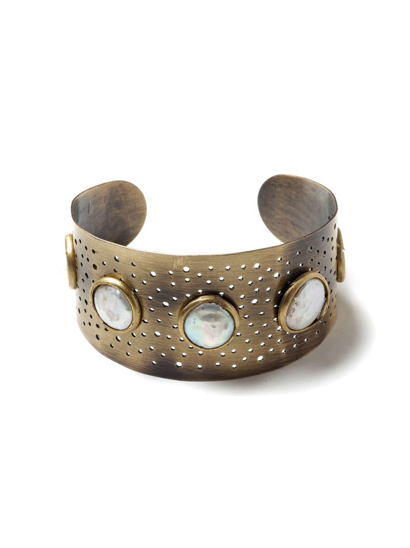 Pearl And Perforations Cuff Bracelet #N17B