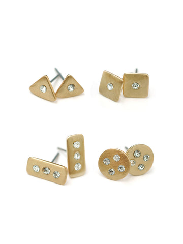 Satin Geo Stud Earrings Set #N31E