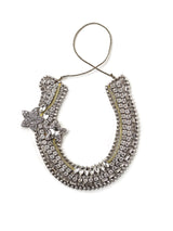 Front view of bejeweled horseshoe shaped christmas ornament