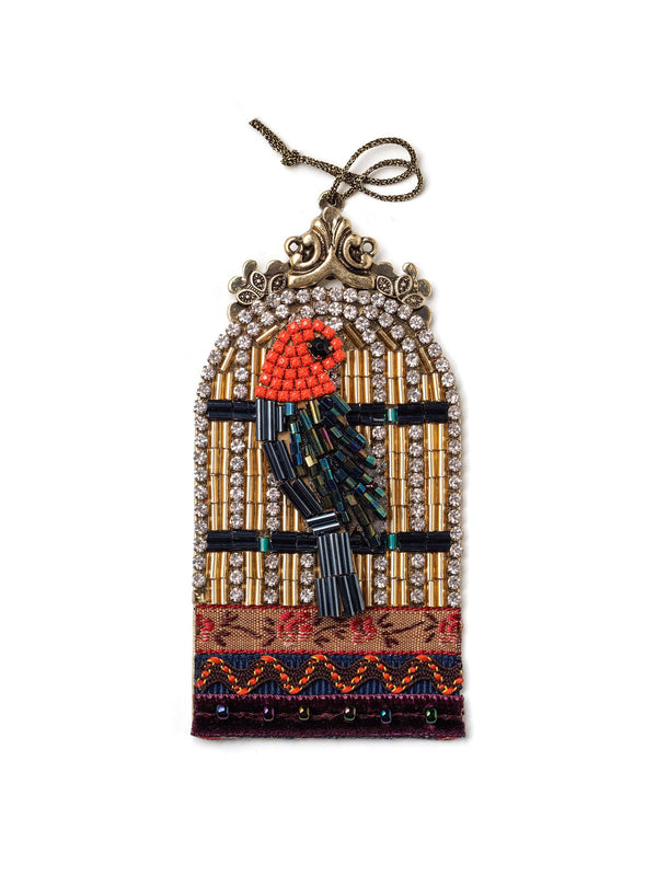 Bejeweled Bird Cage With Beaded Bird Christmas Ornament