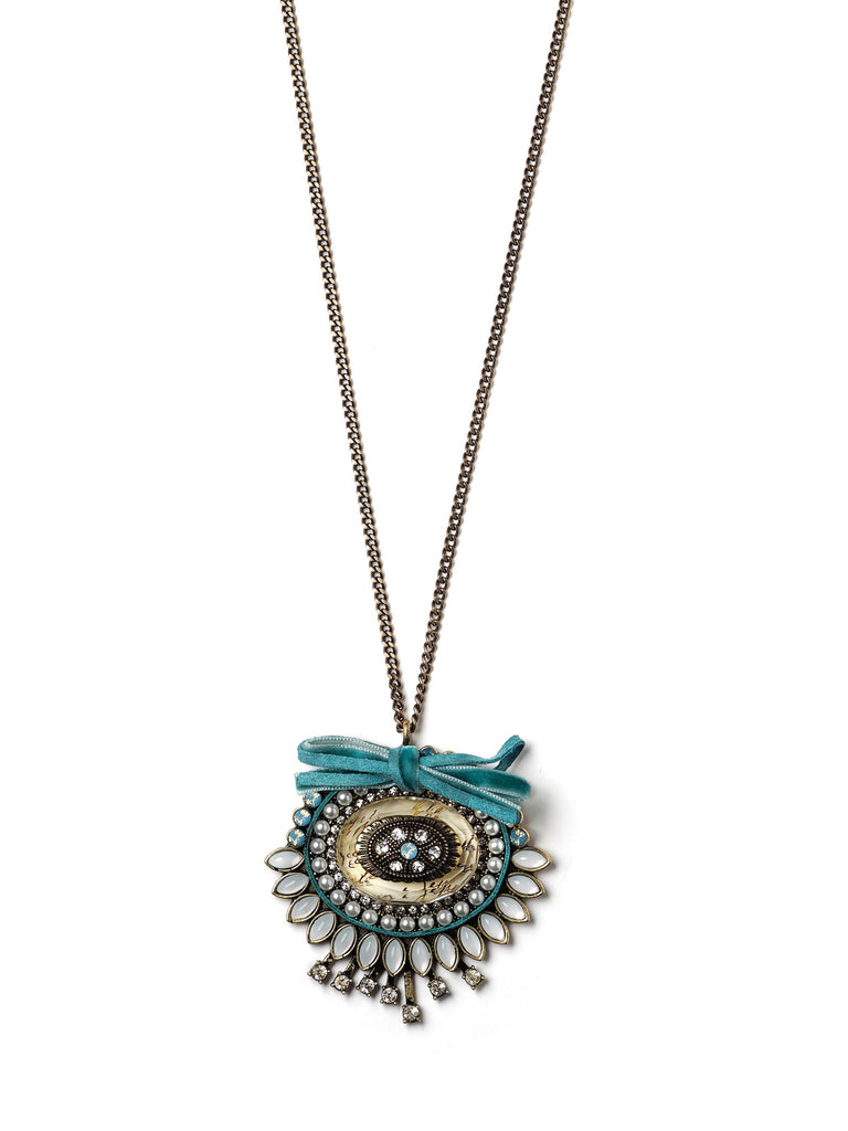 Vintage Blue Pendant Necklace #ORN15
