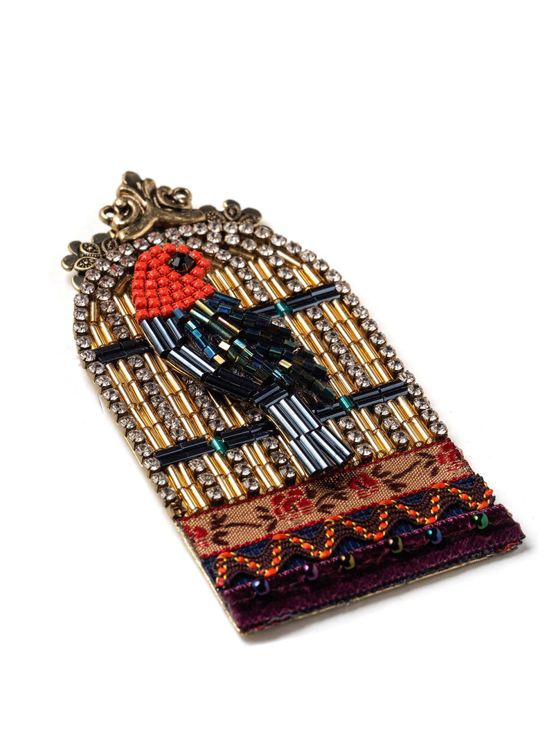 Bejeweled Bird Cage With Beaded Bird Pin