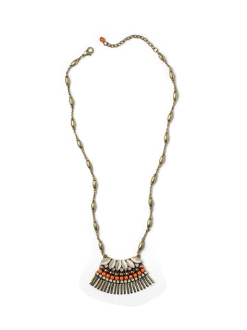 Orange Dots Mini Bib Necklace #PLN8