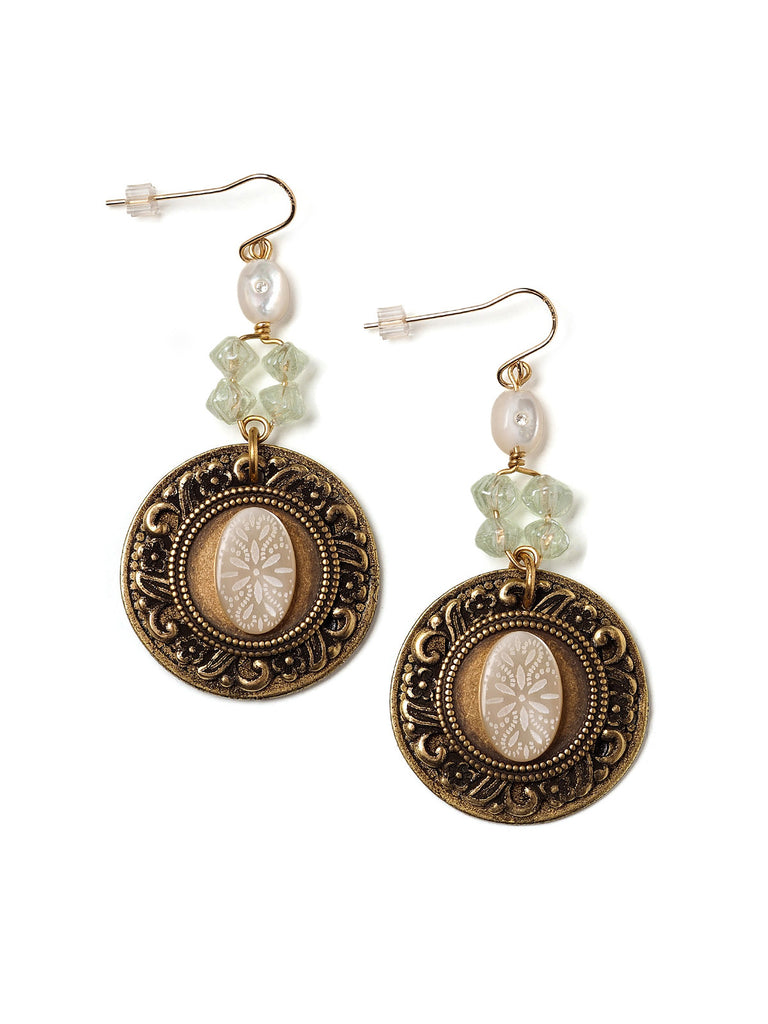 Esther Vintage Cabochon Earrings #U02E
