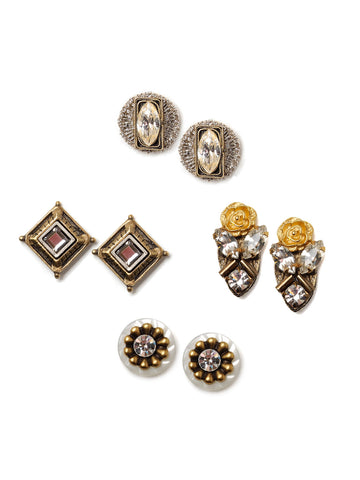 Vintage Mirror Stud Earring Set #U10E