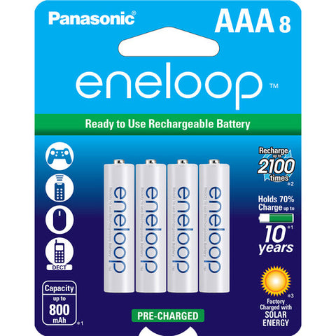 Panasonic Eneloop AAA Rechargeable Ni-MH Batteries (800mAh, Pack of 8)