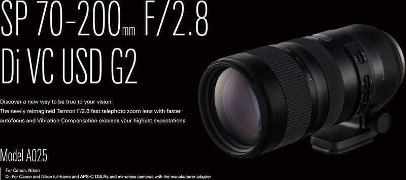 Tamron SP 70-200mm f/2.8 Di VC USD G2 Lens