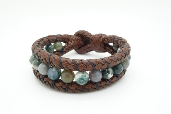 Handmade leather and natural stone bracelets. 8""