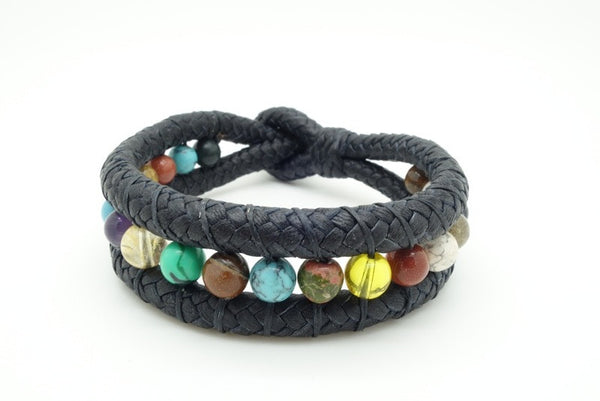 Handmade leather and natural stone bracelets. 9""