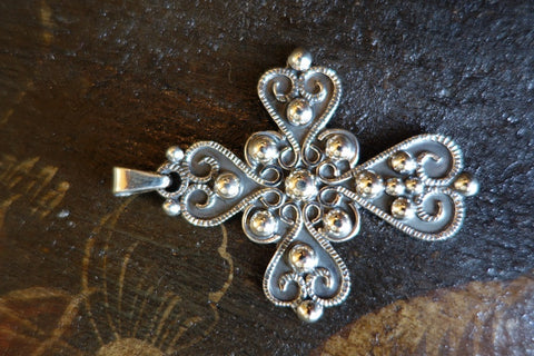 Handcrafted solid sterling .925 silver cross pendant from Taxco, Mexico