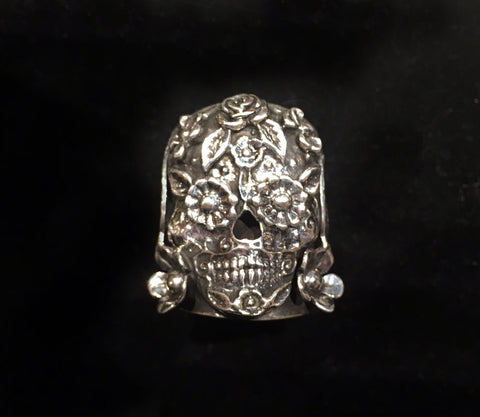 .925 Sterling Catrina skull ring