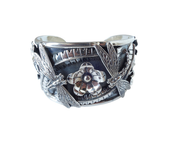 No Mas! 925 Sterling Silver Bracelet with Flower and Dragonflies